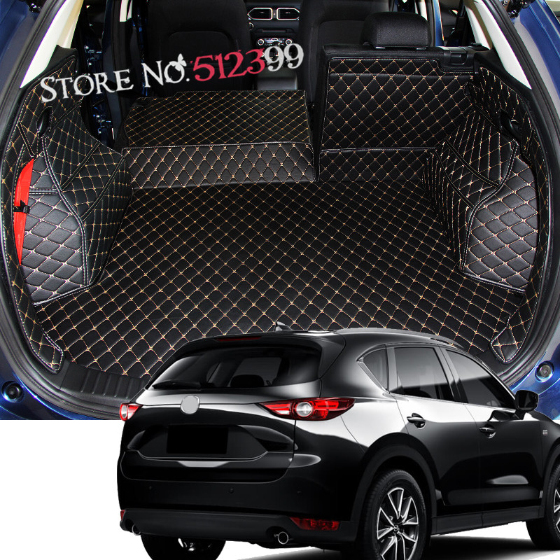 1 set Leather Car Boot Mat Rear Trunk Liner Cargo Floor Carpet For Mazda CX-5 2nd Gen 2017 2018 Car styling for mazda cx 5 cx5 2017 2018 2nd gen lhd auto at gear panel stainless steel decoration car covers car stickers car styling