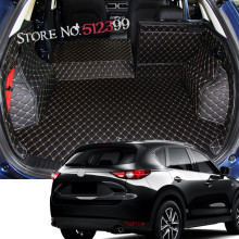 1 set Leather Car Boot Mat Rear Trunk Liner Cargo Floor Carpet For Mazda CX-5 2nd Gen 2017 2018 Car styling