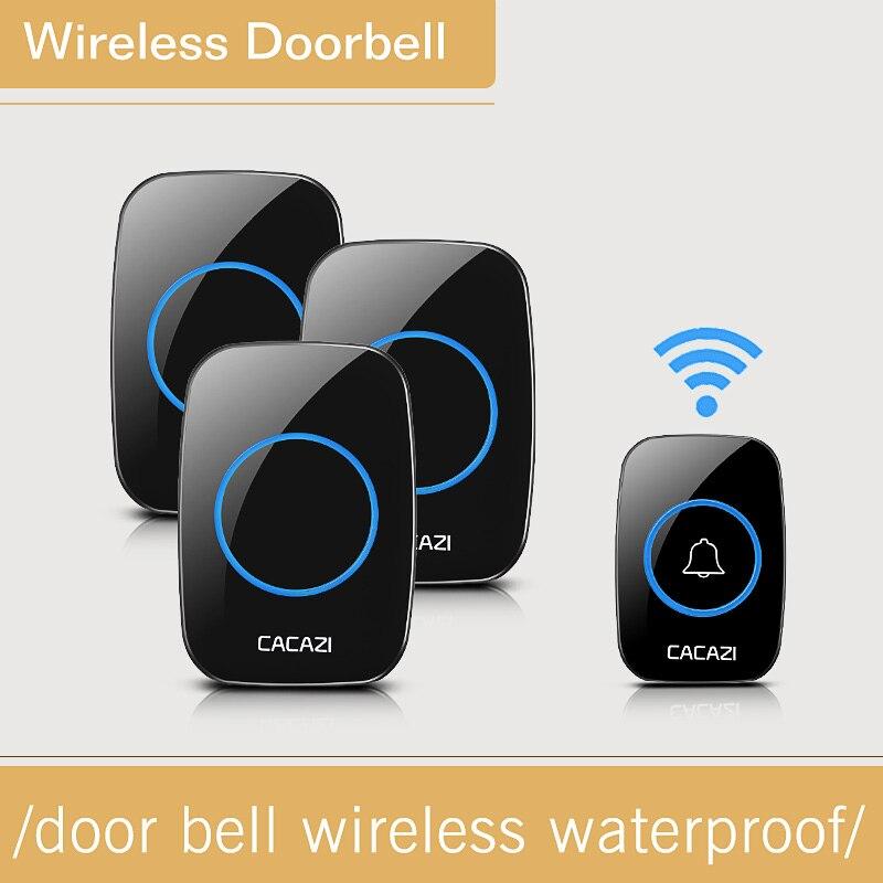CACAZI Waterproof Wireless DoorBell 28 Melody Easy Set Up Home DoorBells With 1 Push Button +3 Indoor Doorbell Receivers 1V3