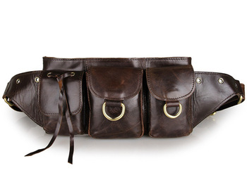 Men Waist Bag Cow Leather Waist Pack Purse Belt Hip Bags  2018 Man Casual Travel Vintage Luxury Brand Brown Phone Designer Bag