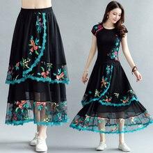 女性ロングスカート女性の秋春メキシコスタイルエスニック自由奔放に生きるロング黒刺繍ミディスカート faldas mujer 段