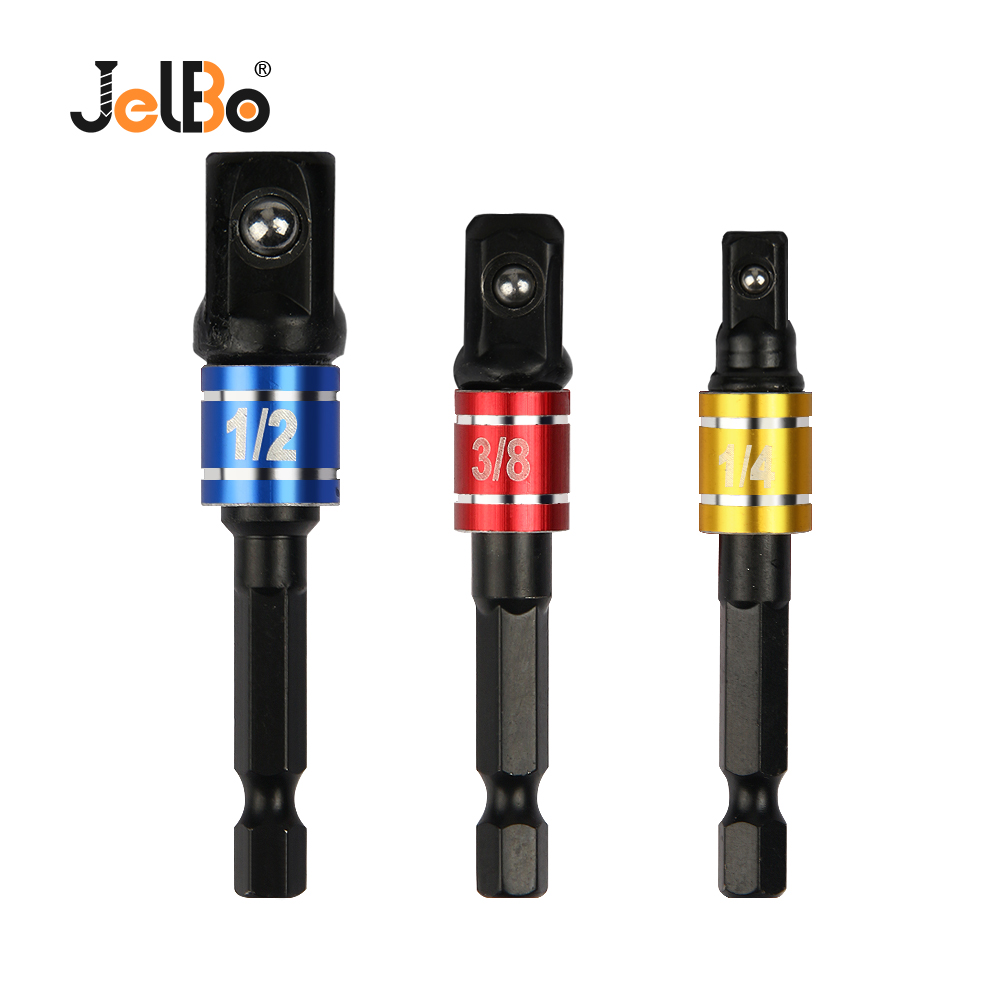 JelBo 3PCS Set 1/2 3/8 1/4 Electric Sleeve Connecting Rod Steel Ball Hex Shank Drill Adapter Fittings For Connect Electric Drill