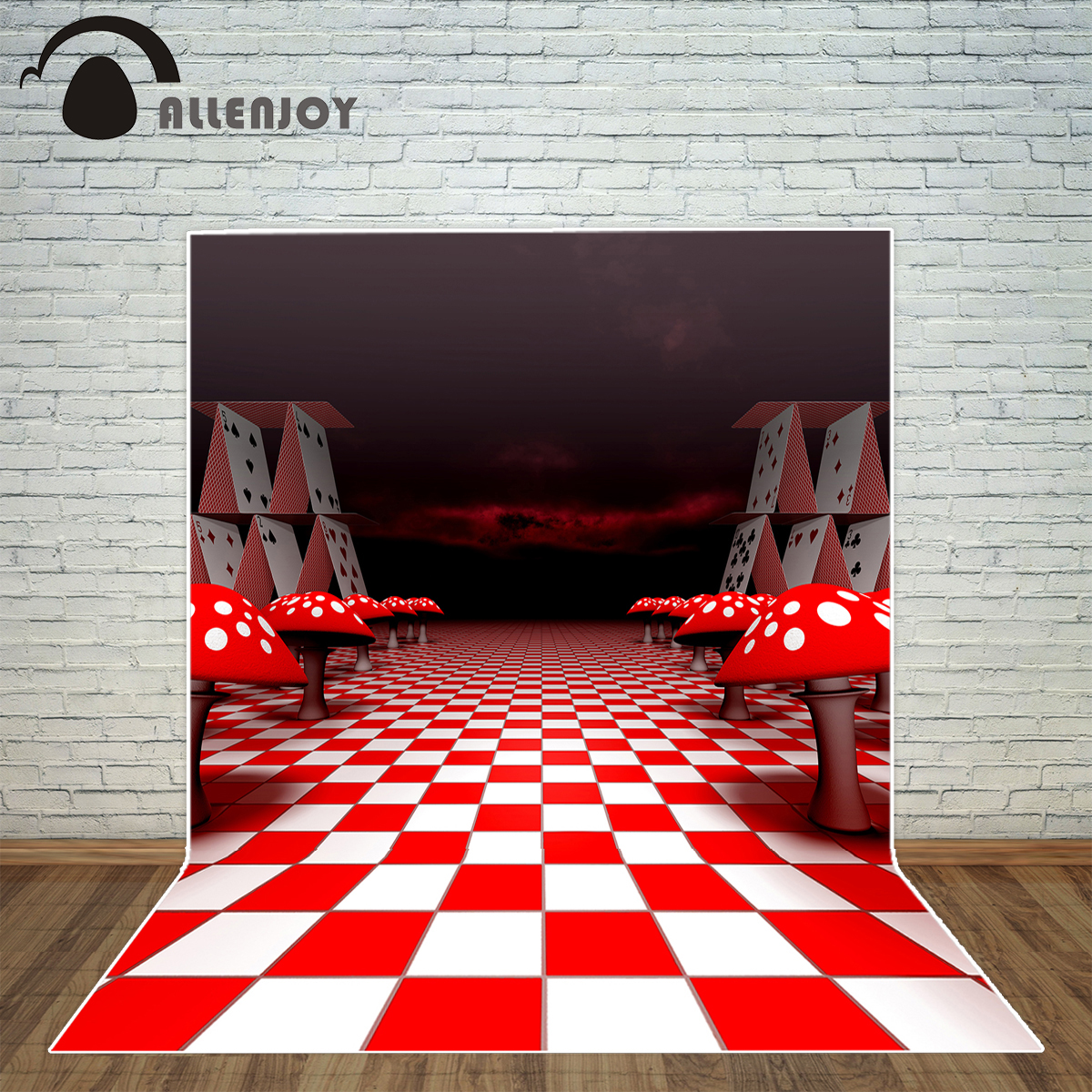 Allenjoy photography backdrop Alice mushroom cards chessboard fairy tale background photo studio new design camera fotografica photo background 5x7ft fairy tale mushroom house photography backdrop studio props for children