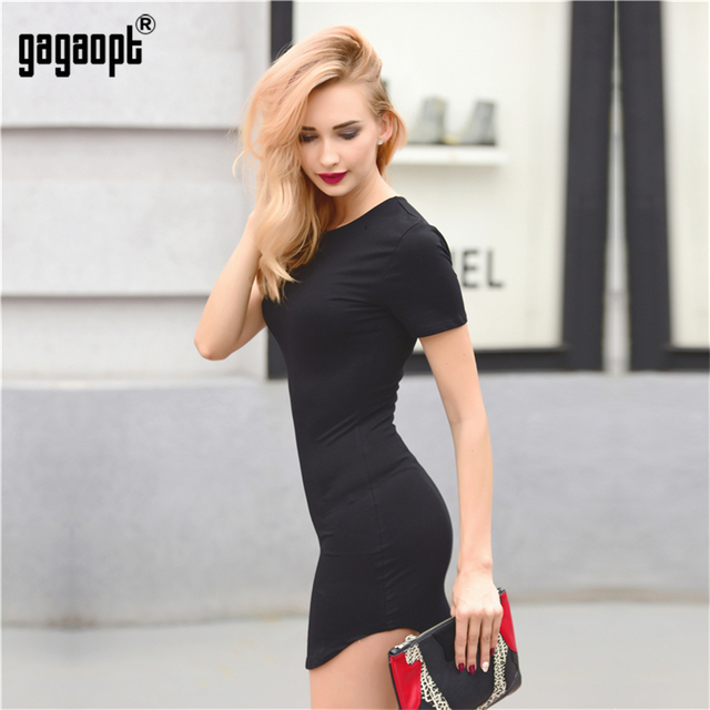 Gagaopt Summer Dresses Women 95% Cotton Black Solid Beach Dress Office Bandage Dresses Casual Jurken Robe Femme Vestidos mujer