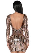 Robe Sexy Night club Wear Hot Femme New Arrival Woman clothes wholesale adult Rose Nude Open Back Long Sleeve Sequin Dress 22867