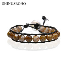 SHINUS BOHO 11 MM Natural Stone Warp Bracelets Women Fashion Handwoven Bracelet Gourmette Femme Adjustable Maxi Collier Bilekilk(China)