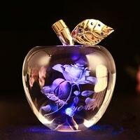Handmade Glossy Lovely Rose 3D Laser Engraved Crystal Apple for Christmas Present