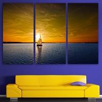 3 Panels Canvas Art West Sun Yacht Surface Home Decor Wall Art Painting Canvas Prints Pictures