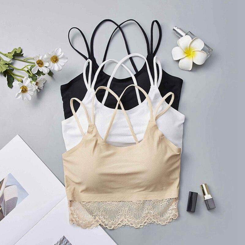 Women Lace Strap Bras Tube Vest Lady Chest Wrap Girl Rimless Underwear Women's Intimates