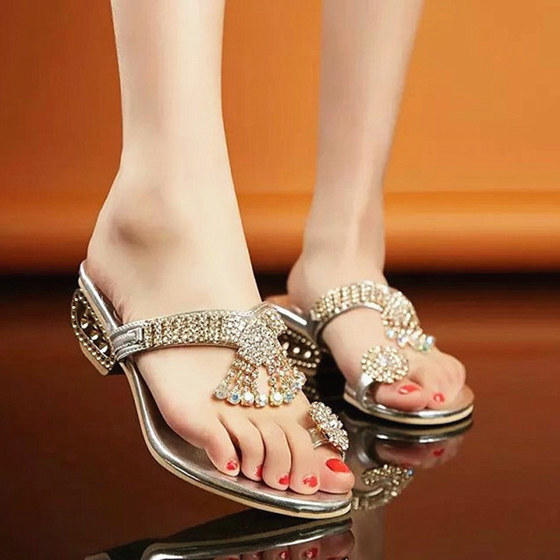 Women Sandals Flip Flop Fashion Rhinestone Wedges Shoes Crystal High Heels Sandals Women Shoes Summer Casual Beach Sandals