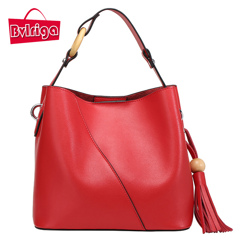 BVLRIGA font b Women b font leather font b handbags b font simple tassels genuine leather