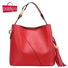 BVLRIGA Mujeres bolsos de cuero simples borlas bolsa de cubo de cuero genuino bolso de la alta calidad de lujo bolsos de mujer bolsas de diseñador
