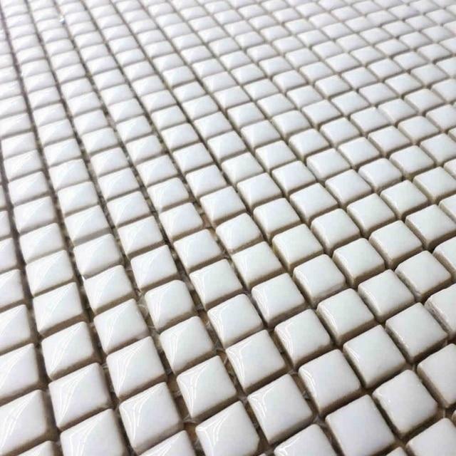 9595mm mini white color glazed ceramic mosaic tile for bathroom shower tiles living