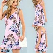 Summer Strap Dresses 2019 New Women Casual Pineapple Print Sleeveless V-Neck Loose Short Dress