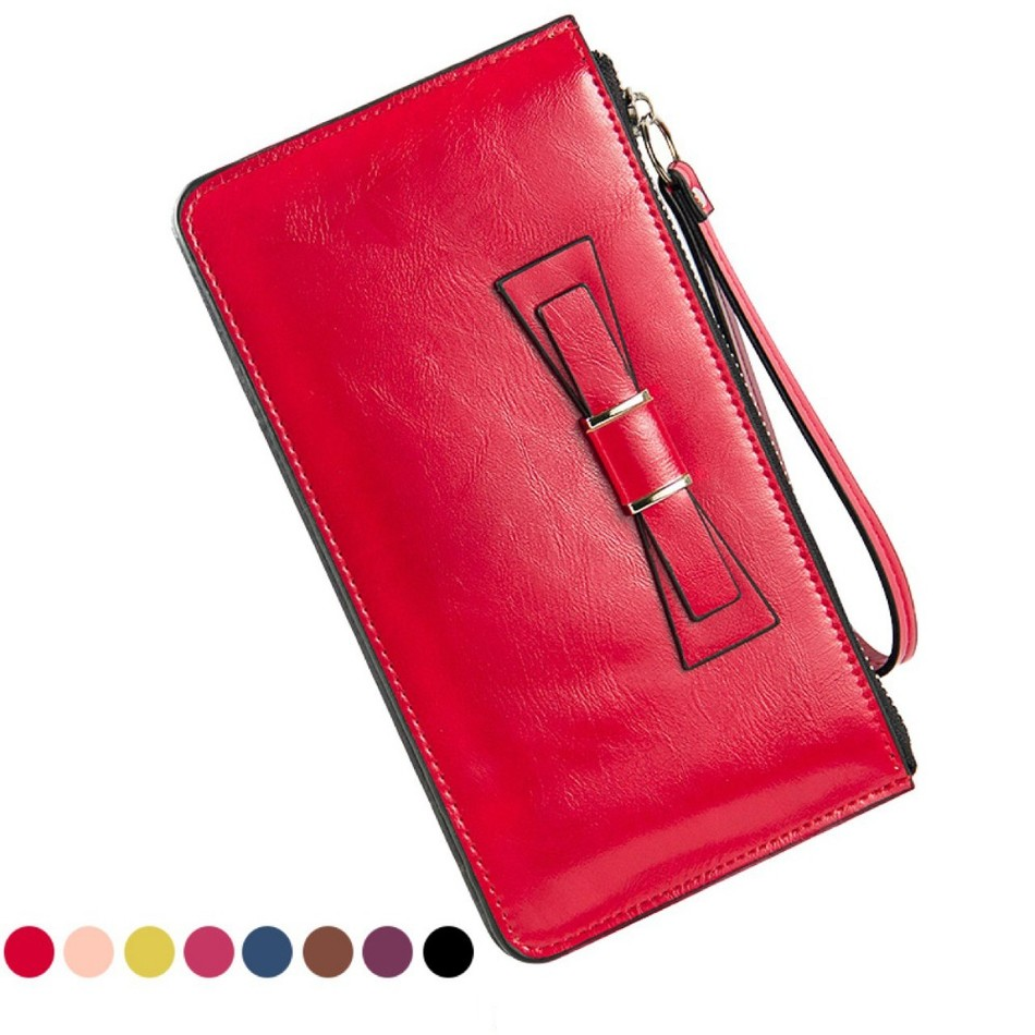 Baellerry New European American Fashion Womens Long Purse Oil Wax PU Mobile Phone Bit Large Capacity Card Holder Clutch Wallets