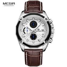 MEGIR официальный кварцевые Для мужчин часы моды натуральная кожа хронограф часы для легкой Для мужчин мужской студентов Reloj Hombre 2015