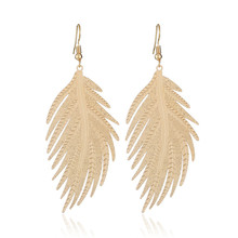 CRLEY Metal Feather Dangle Drop Earrings for Women Gold Silver Color Female Wedding Party Jewelry Accessory Wholesale Price