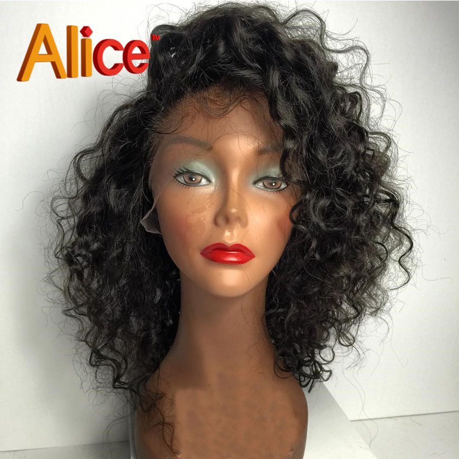Short Peruvian Deep Curly Virgin Human Hair Wigs Glueless