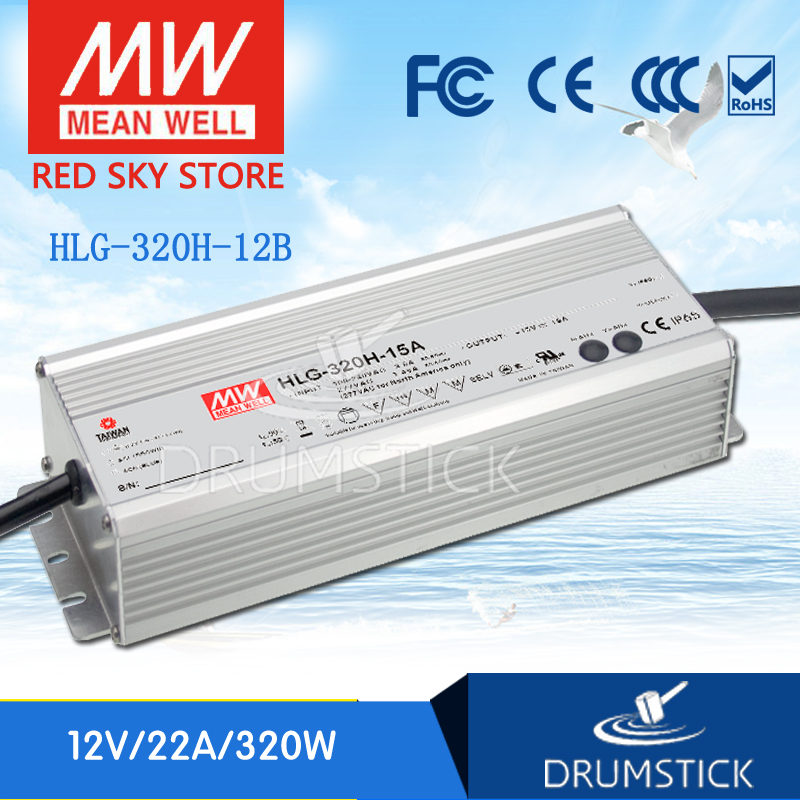 MEAN WELL HLG-320H-12B 12V 22A meanwell HLG-320H 12V 264W Single Output LED Driver Power Supply B type genuine mean well hlg 320h 36b 36v 8 9a hlg 320h 36v 320 4w single output led driver power supply b type