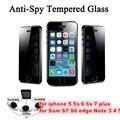 9 h 0.3mm calidad anti spy protector de pantalla de cristal templado para el iphone 5s/6/6/7 plus samsung anti-shatter película de protección de la privacidad