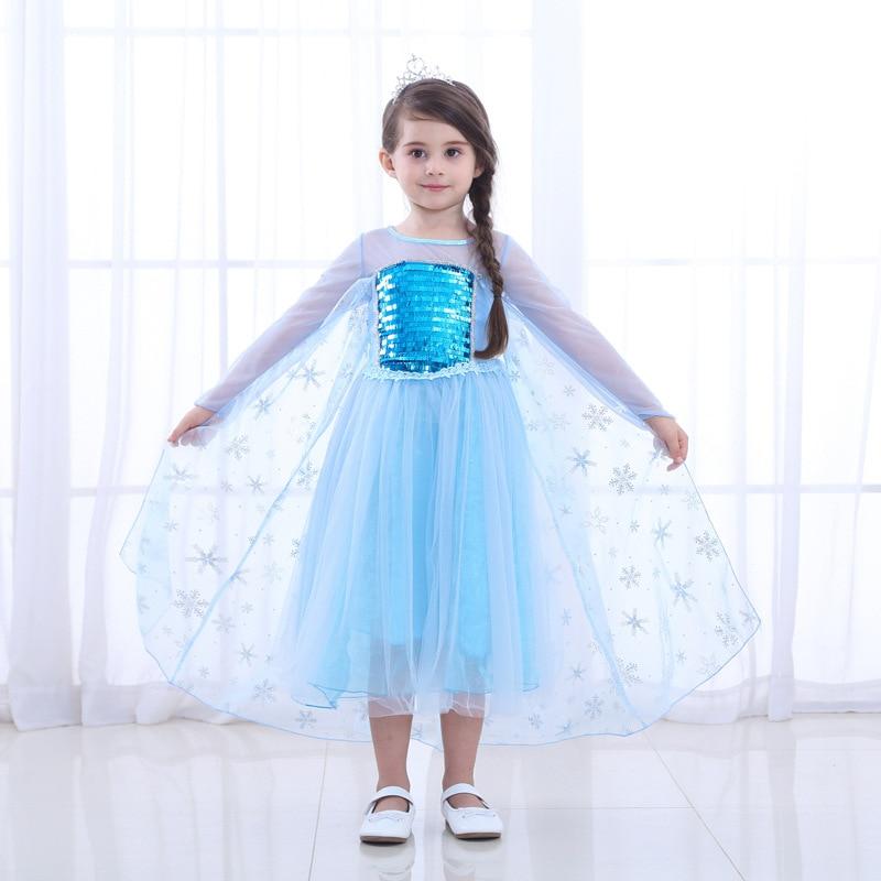 kids Girls Dresses Elsa costumes Cosplay party Dress princess Anna dresses Elza vestidos infants for children