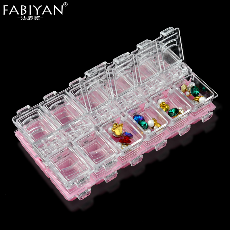12 Grid Plastic Empty Box Storage Rhinestone Gems Crystal Glitter Beads Accessories Organizer Container Case Decoration Nail Art