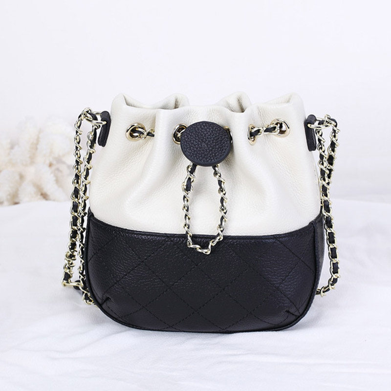 Womens genuine leather chain bucket bag shoulder slungladies handbag famous brands Bolsos Mujer bolsa feminina Clutch S