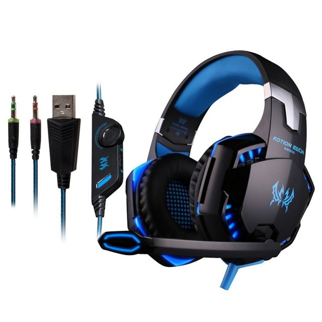 KOTION EACH G2000 Gaming Headset Headphone Ear phone casque Stereo Earphone PC Gaming Headphone with microphone Led For computer
