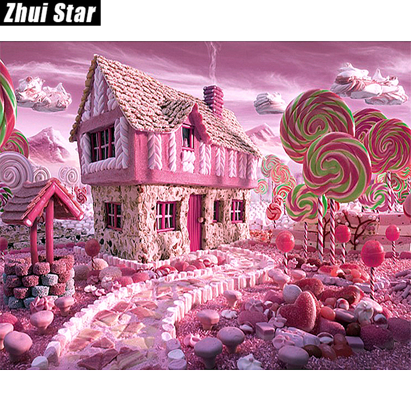 "Full Square Diamond 5D DIY Diamantmålning ""Candy House"" Broderi Cross Stitch Rhinestone Mosaic Painting Decor Gift"