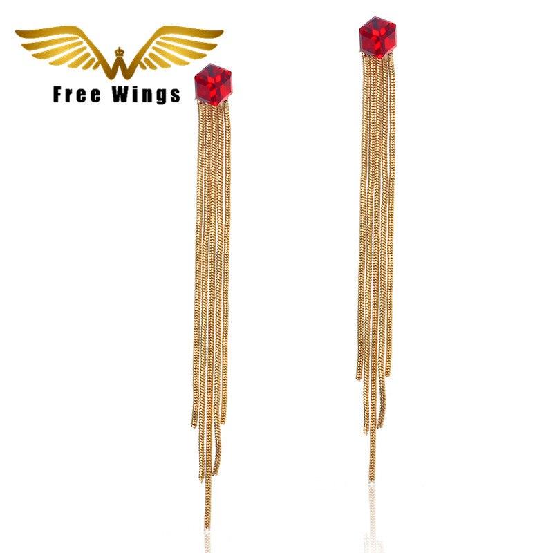 Red Crystal Dangle Earrings Fashion Tassel Earrings Jewelry bohemian india pendientes Long Earrings for Women
