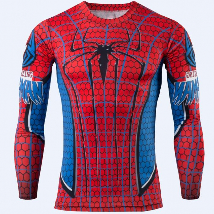 2016 new spider-man male quick dry long T-shirt compressed t-shirts superman and batman captain America fitness T-shirt