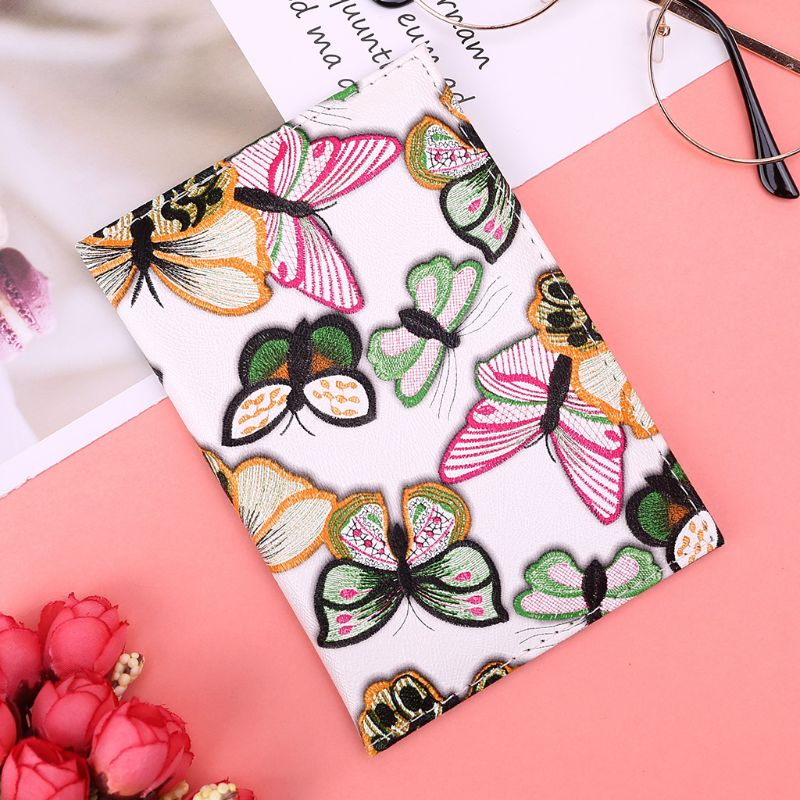 High Quality PU Leather Fashion Imitation Embroidered Butterfly Passport Cover Air Ticket ID Card Holder For Women in Card ID Holders from Luggage Bags