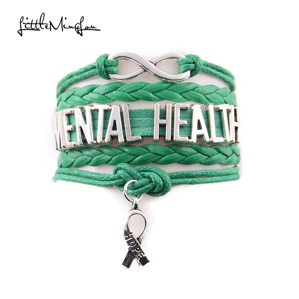 give bracelet green health wellbeing up never raising pom mental awareness pin positivity mint