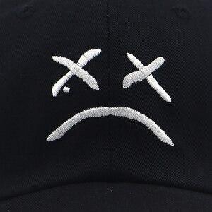 Бейсболка с надписью sad face, хлопковая Регулируемая Кепка с надписью snapback для мужчин и женщин на лето и весну