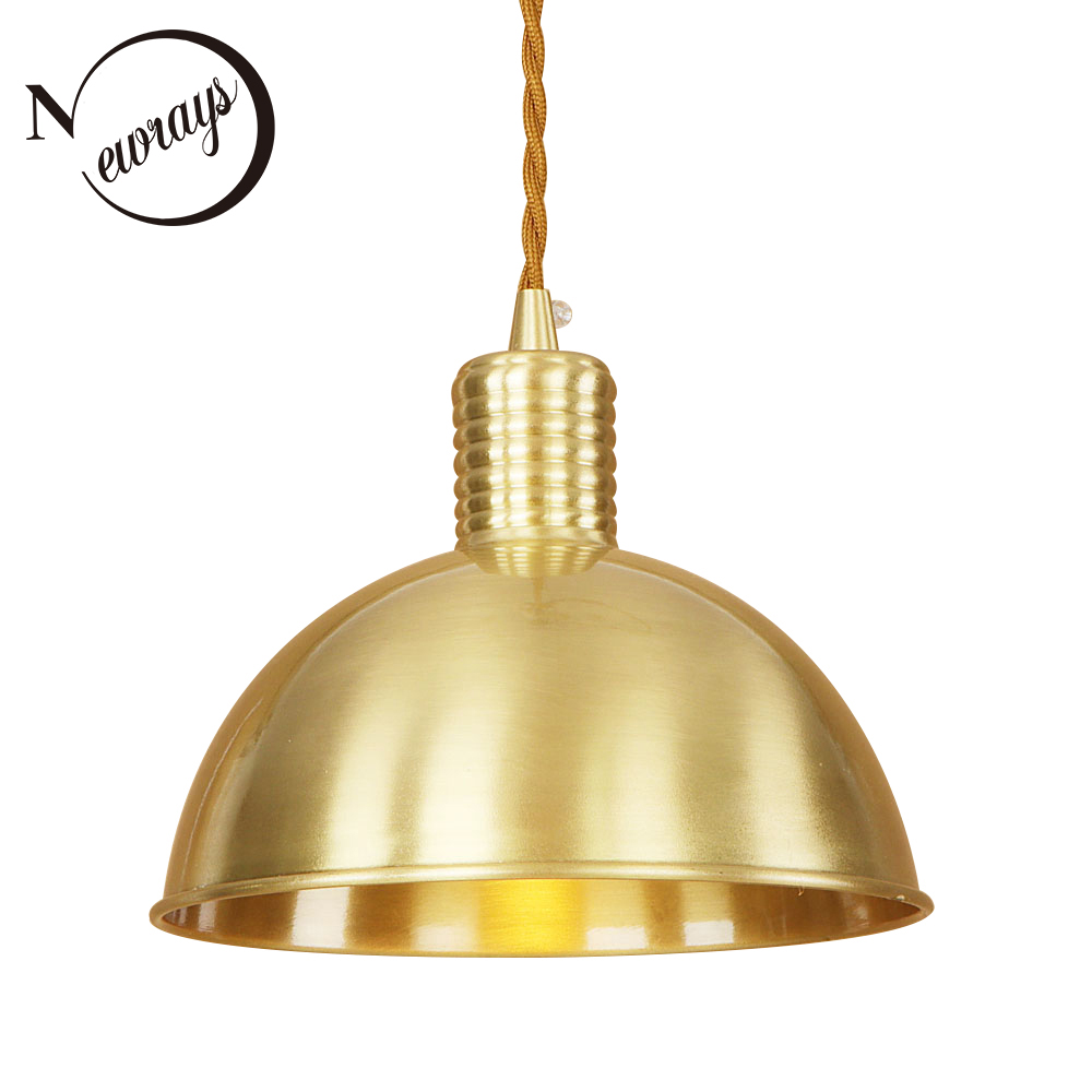 Modern Iron Brass Hemispherical Pendant Lamp 220V E27 LED Novelty Hanging Light Fixture Restaurant Bedroom Living Room Cafe Bar