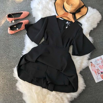 NiceMix Women's V neck flare sleeve solid color Playsuits Lady's Vintage Spring Summer Wide leg shorts Jumpsuits rompers new 5