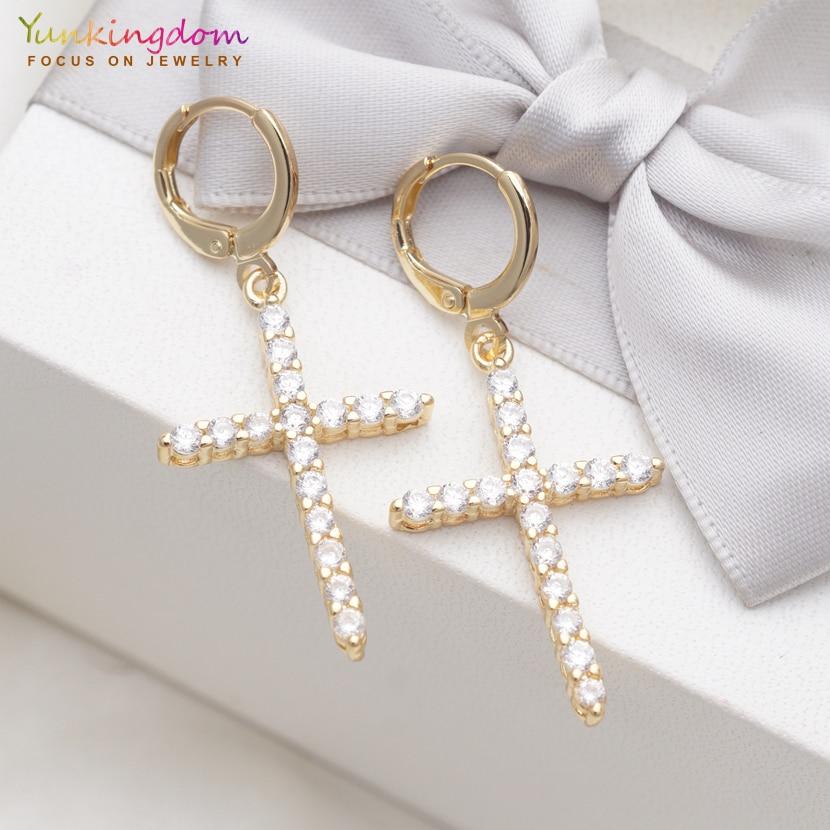Yunkingdom Original Hot Cross Gold Long Earrings Crystal Drop Earrings for Women Fashion Wedding Jewelry 2019 New