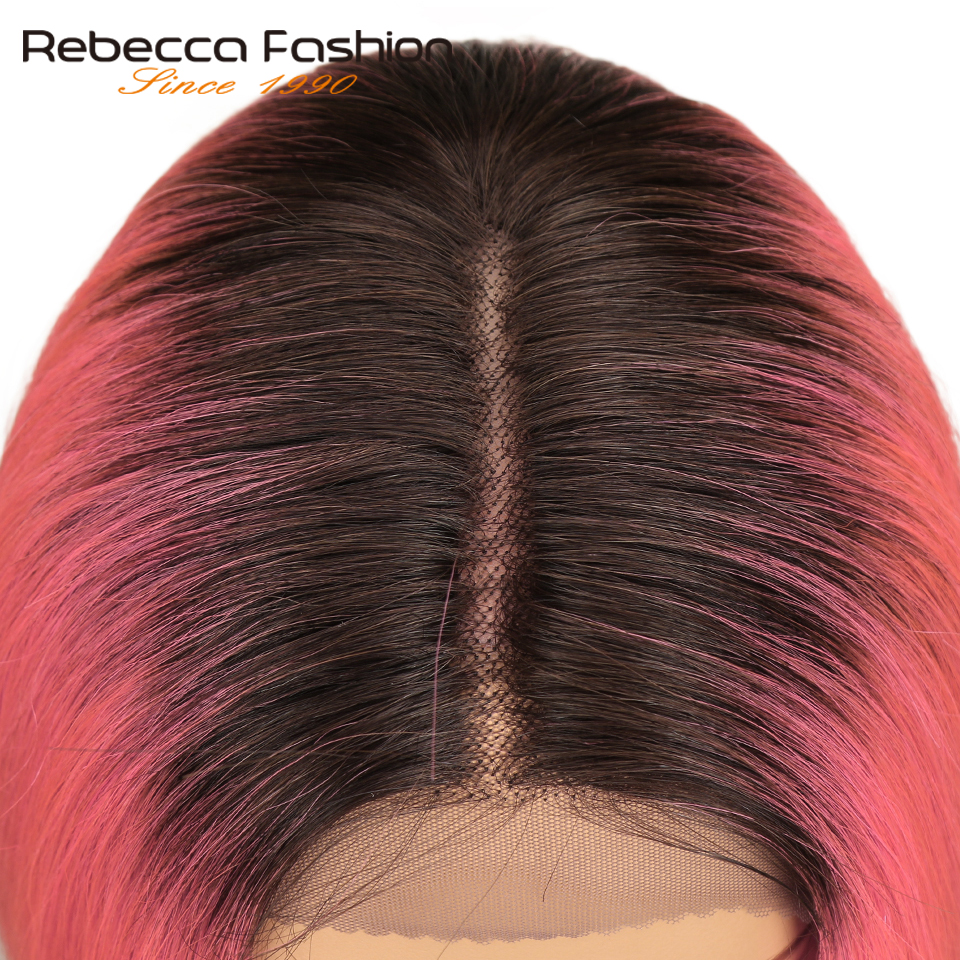 Hair Extensions & Wigs Sleek Lace Front Human Hair Wigs For Women Brazilian Virgin Hair Silky Straight Short Bob Ombre Pink Brick Red Color Remy Wig Part Lace Wigs