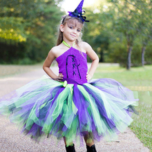 2019 New Halloween Girl Costume Party Dress Sleeveless Halter Child Kids Tulle Dresses Summer Clothes 5 6 7 8 9 10 12 12Years недорго, оригинальная цена