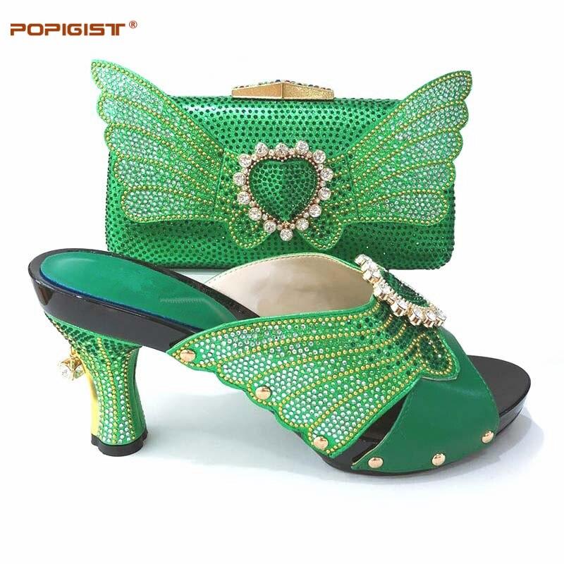 الأخضر اللون الأحذية الأفريقية و مجموعة الحقائب الايطالية الأحذية مع حقيبة مطابقة مع يزين كريستال الساخن بيع السيدات مطابقة مجموعة-في أحذية نسائية من أحذية على  مجموعة 1