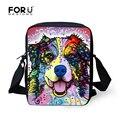 Colorful Cartoon Animal Printed Messenger Bags for Women Cute Border Collie Ladies Shoulder Cross Body Bag Travel Bolsa Feminina
