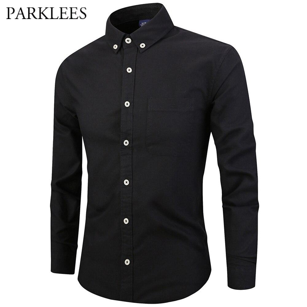 Collar Men/'s Oxford Shirt Button Down Long-sleeved Business Formal Dress Shirts