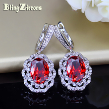 BlingZircons Turkish Red Garnet Big Oval Cubic Zirconia Paved Sterling Silver 925 Hanging Earrings Women Wedding Jewelry E125