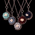 Romantic Elegant 80 90's Jewelry Bronze Pendant Korean Velvet Beautiful Daisy Starry Sky On The Back Fashion Necklace Women