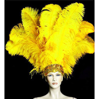 100pcs big pole 100% natural Ostrich Feather 20 80CM/8 32Inch dyed yellow for party mask headdress clothing accessories