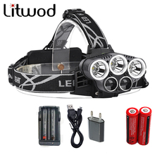 NEW XML T6 5 LED Headlight Headlamp Head Lamp portable Light 4/6 mode torch 2×18650 battery+EU/US Charger for fishing Lights