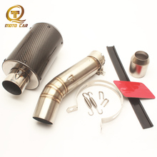 PitBike Carbon Fiber Full Exhaust System Escape Moto 51MM Clamp Spring Connect Pipe for Honda CBR500 CBR500R 2012 2013 2014 2015