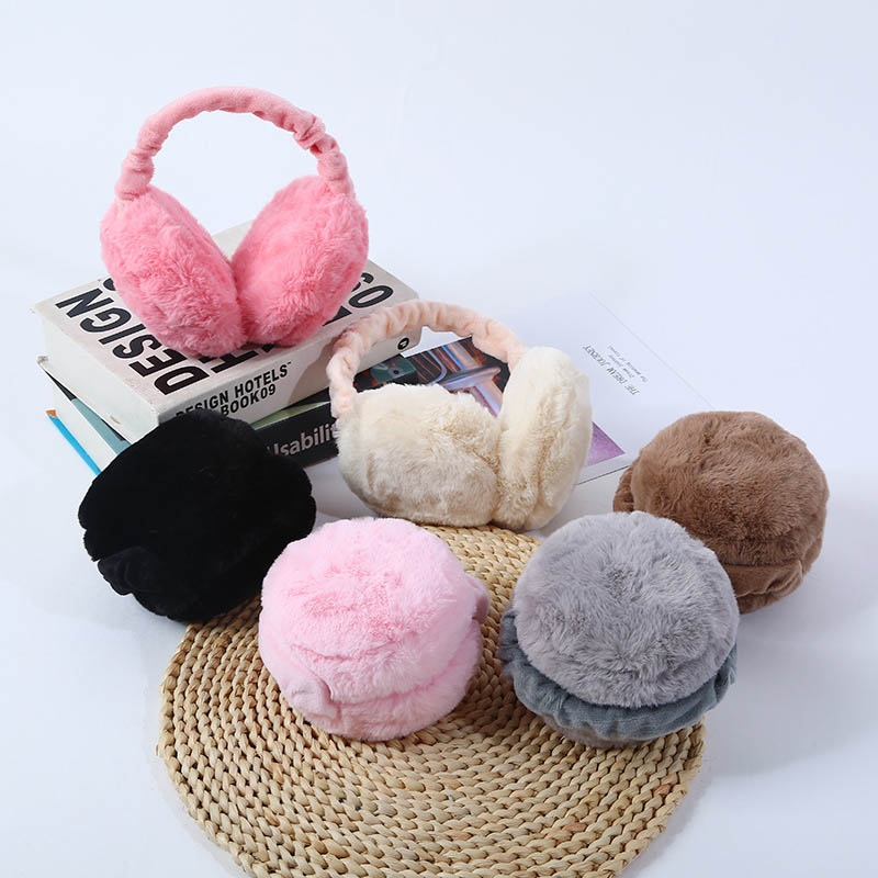 Earmuff Plush Warm Foldable Solid Color Winter Earflap Warmer Outdoor Snow Motorcycle Windproof Ear Cover H9