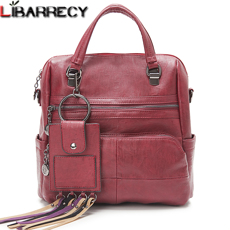 Fashion Backpack Female Simple PU Leather Women's Bags Large Capacity School Bags for Girls Brand Travel Backpacks for Women Sac leftside simple style women fashion small pu leather backpacks female backpack travel bag school bags for teenagers girls 2018