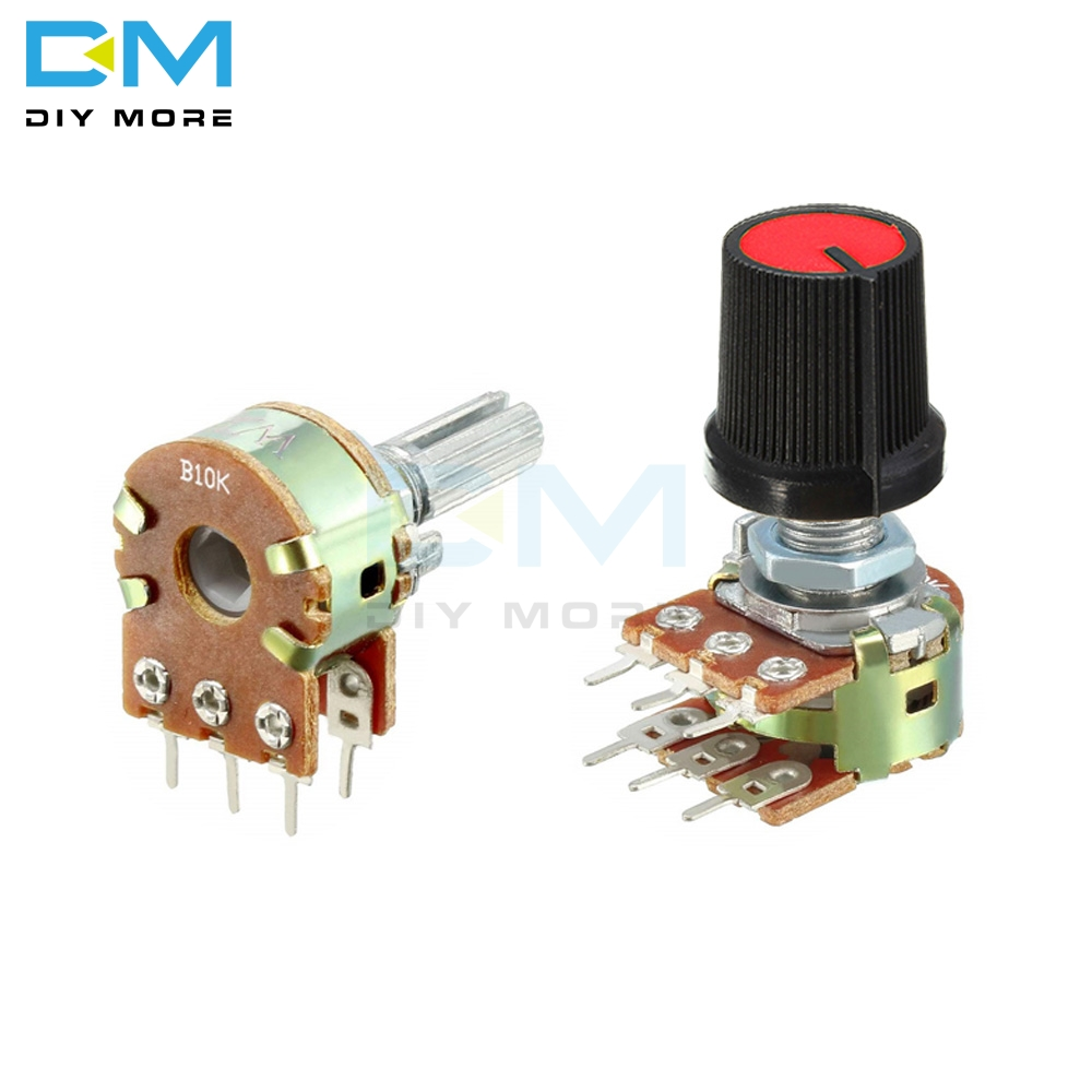 2Pcs B100K WH148 6-Pin Potentiometer Carbon Film Pot With 15mm Handle